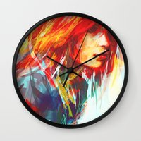 blues Wall Clocks featuring Airplanes by Alice X. Zhang