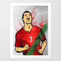 ronaldo Art Prints featuring Cristiano Ronaldo by Bunch of Fives