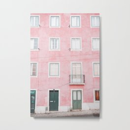 Old Pink House in Alfama in Lisbon, Portugal | Travel Photography | Metal Print