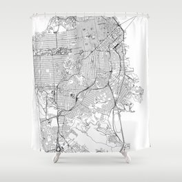San Francisco White Map Shower Curtain
