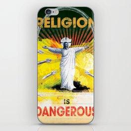 Religion is Dangerous, propaganda stencil street art iPhone Skin