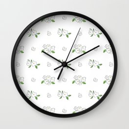 Hand drawn white black green watercolor elegant floral Wall Clock