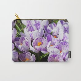Purple and White Crocuses Carry-All Pouch