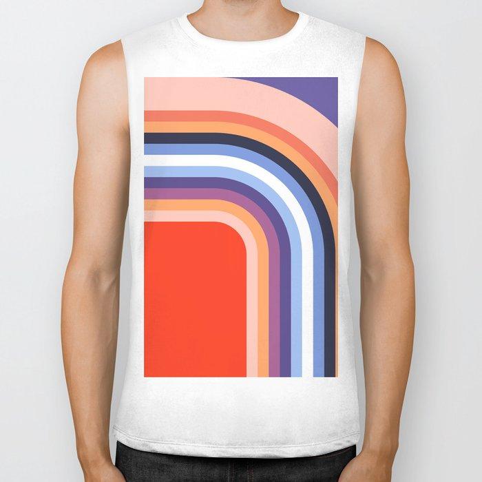70s Stripes Rainbow 2 Biker Tank