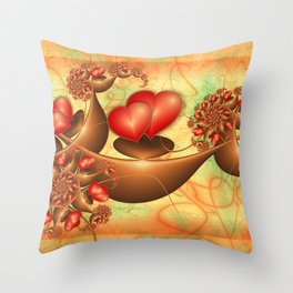 Lovers, Abstract Emotions Fractal Art With Red Hearts Throw Pillow
