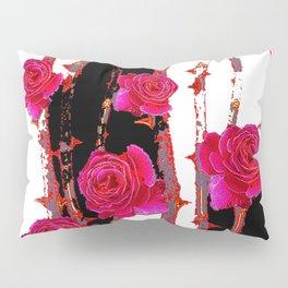 MODERN ART PINK ROSE BLACK & WHITE ART Pillow Sham