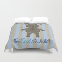 capricorn Duvet Covers featuring Capricorn by Esther Ilustra
