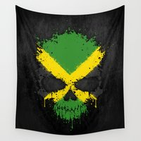 jamaica Wall Tapestries featuring Flag of Jamaica on a Chaotic Splatter Skull by Jeff Bartels