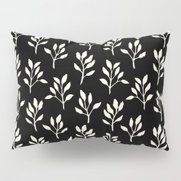 modern ivory black hand painted watercolor floral pattern pillow sham