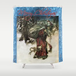 Father Christmas, Vintage Arthur Rackham Santa Shower Curtain