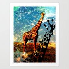 Giraffe's world Art Print