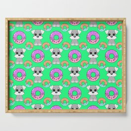 Cute happy funny little Schnauzer puppies, sweet yummy Kawaii adorable colorful donuts cartoon bright pastel green pattern design. Serving Tray