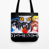 death note Tote Bags featuring Death Note  by Amana HB