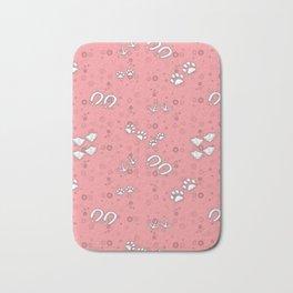 Pink Baby Animal Tracks Pattern Bath Mat