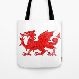 Welsh Dragon With Grunge Tote Bag