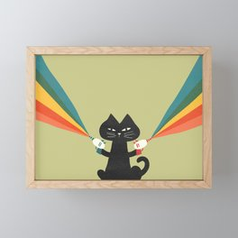Ray gun cat Framed Mini Art Print