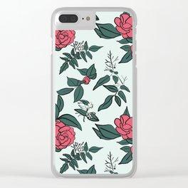 Camellia & Jasmine on pale blue Clear iPhone Case