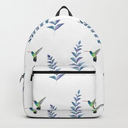Hummingbird with tropical leaves watercolor pattern Backpack