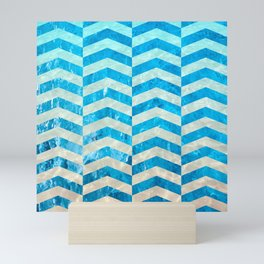 Aquatic Gradient -Wide Cevrons Mini Art Print