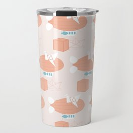 balloon, paper boat and wooden cubes Travel Mug