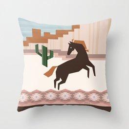 Wild Desert Horse Throw Pillow