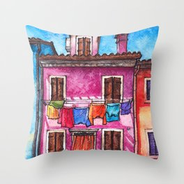 Burano laundry ink and watercolor illustration Throw Pillow