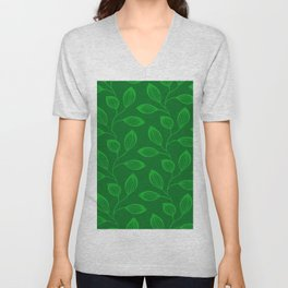 Climbing Leaves In Sage Green and Lime Unisex V-Neck