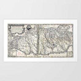 17th century map of Wallachia Art Print