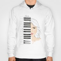 piano Hoodies featuring Piano by Lluna Llunera