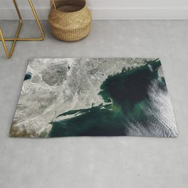 Winter Aerial View of New York, Long Island, Rhode Island, Cape Cod & New England Rug