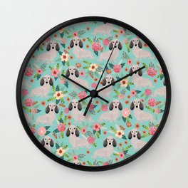 Dachshund florals - shaded cream doxie design cute floral dogs dachshunds cute dog best doxies Wall Clock