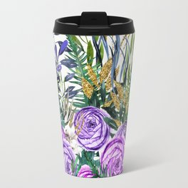 Gold Glitter Purple Garden Travel Mug