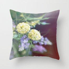 Garden blured flowers Throw Pillow
