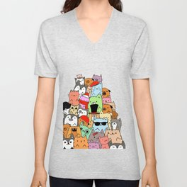 Cute Cats and Dogs Doodle Unisex V-Neck