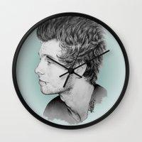 luke hemmings Wall Clocks featuring Luke by Drawpassionn