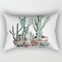 Potted Cacti + Succulents Rose Gold Rectangular Pillow