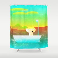 vector Shower Curtains featuring The Adventure of Neb No. 1 by BCGenest