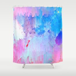 Abstract Candy Glitch - Pink, Blue and Ultra violet #abstractart #glitch Shower Curtain