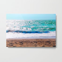 sandy beach with blue water and blue sky in summer Metal Print