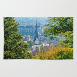 Church Steeple with Fall Colors in Llubljana Slovenia Rug