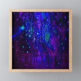 TREES MOON AND SHOOTING STARS Framed Mini Art Print