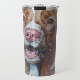 Nova Scotia Duck Tolling Retriever dog portrait from an original painting by L.A.Shepard Travel Mug