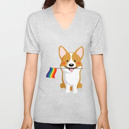 LGBT Gay Pride Flag Corgi - Pride Women Gay Men Unisex V-Neck