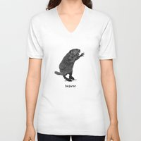 beaver V-neck T-shirts featuring Beaver by peanut