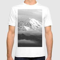 Marvelous Mount Rainier White Mens Fitted Tee MEDIUM