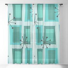 Mid Century Modern Art 'Wonky Doors' Turquoise Teal Sheer Curtain
