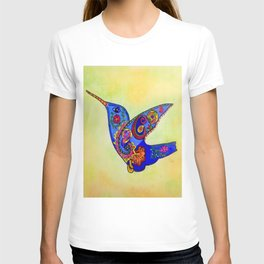 humming bird in color with green-yellow back ground T-shirt