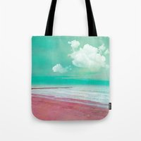 silent Tote Bags featuring SILENT BEACH by VIAINA