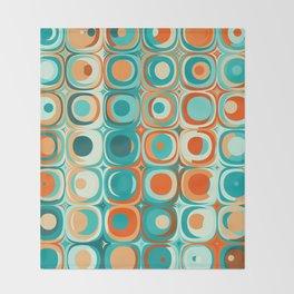 Orange and Turquoise Dots Throw Blanket