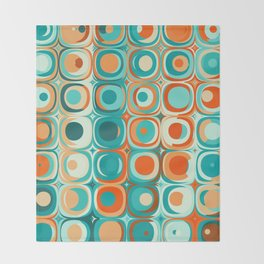Orange and Turquoise Dots Throw Blanket